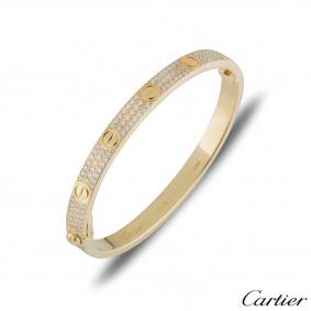 Cartier Yellow Gold Pave Diamond Love Bracelet Size 18 N6035018